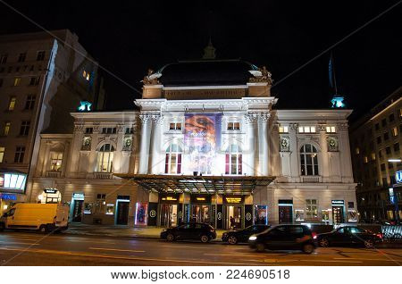 Hamburg Germany - December 16. 2017: Deutsches Schauspielhaus theater at an evening