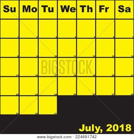 2018 July yellow on black planner calendar with huge space for notes
