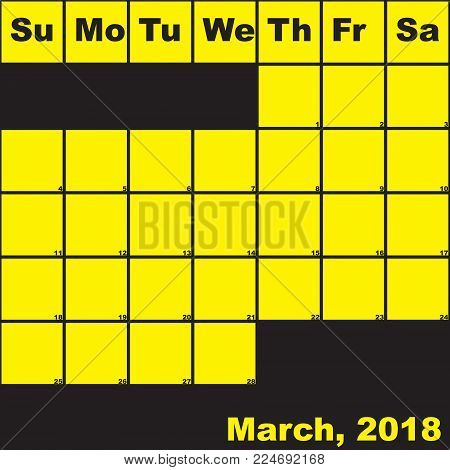 2018 March yellow on black planner calendar with huge space for notes