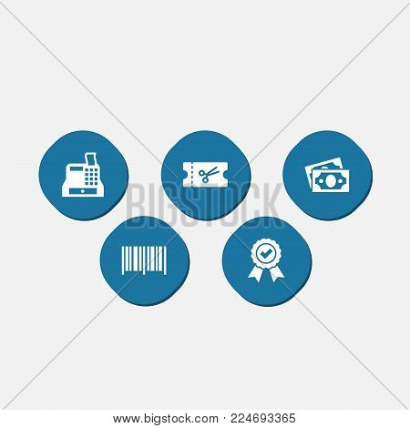 Set of 5 shopping icons set. Collection of till, identification code, dollar and other elements.
