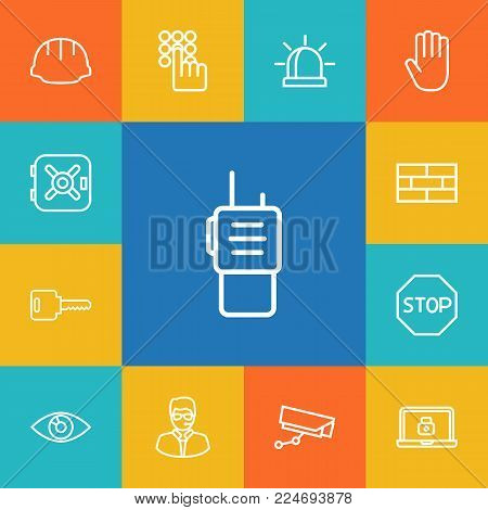 Set of 13 security icons line style set. Collection of safe, no entry, lock and other elements.