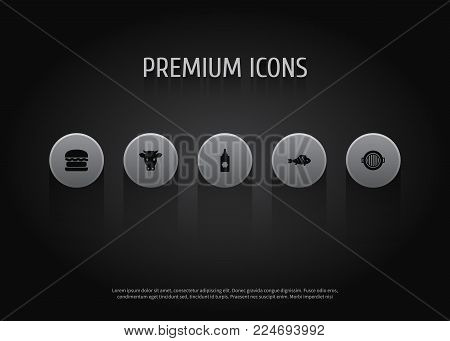 Set of 5 barbecue icons set. Collection of fish, brazier, beef and other elements.