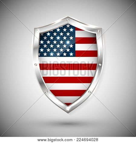 USA flag on metal shiny shield vector illustration. Collection of flags on shield against white background. Abstract isolated object.