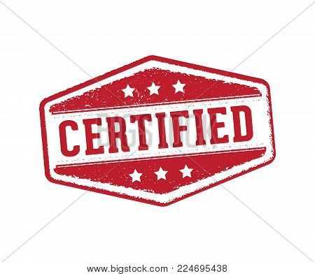 Vector Stamp Label Tag Of Certified Mark For Document, Paper, And Product