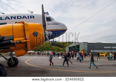 Akureyri Iceland - June 20. 2015: Icelandair Douglas C47 (DC3) airplane at a local airshow in akureyri Airport