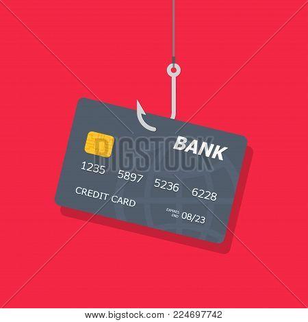 Credit or debit card on fishing hook, internet security. Internet attack on credit card. Data Phishing. Vector illustration
