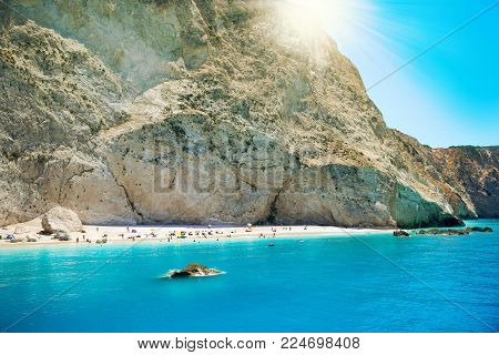 Sunshine over Porto Katsiki beach in summer holiday, Lefkada island Greece