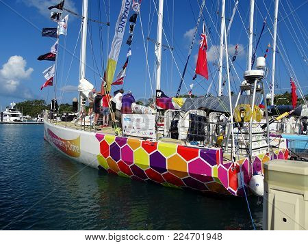 Airlie Beach, Queensland, Australia-January 16, 2016:  A yacht in Airlie Beach Marina partway through the 2015-16 Clipper Round the World Yacht Race