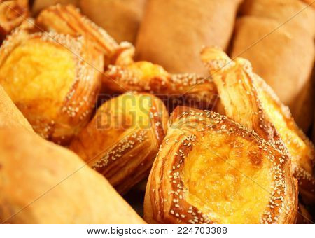 Variety of freshly baked pastries, closeup