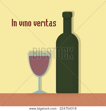 Trendy style hipster vector illustration, typographic poster with bottle of wine and a glass quote. In vino veritas. Vintage print design, home decoration, greeting card.