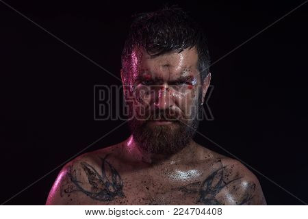 Bearded Hipster With Tattoo On Chest On Black Background. Wizard, Sorcerer, Warlock. Man With Beard,