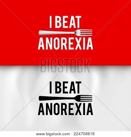 I Beat Anorexia: Ironic Slogan with Fork on White and Red Background for Design