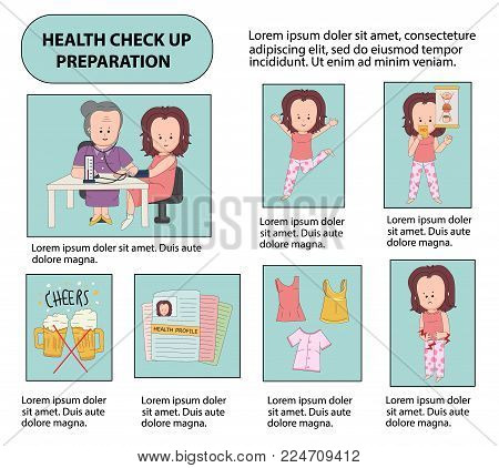 The preparation for health check up infographics, with cartoon characters in line flat design, illustration