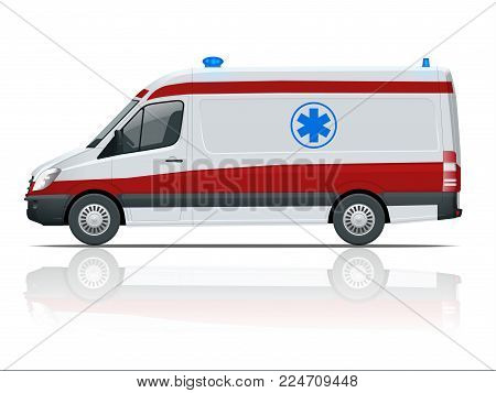 Ambulance Car. An emergency medical service, administering emergency care to those with acute medical problems. Side view
