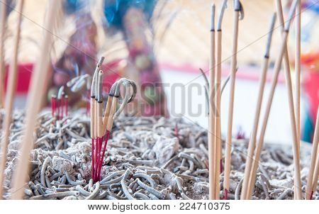 Incense Sticks To Pay Homage To The Chinese New Year Blessing In The Temple