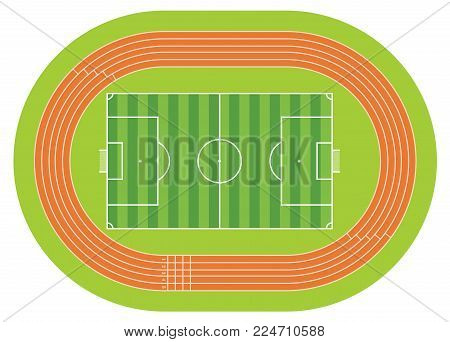 Aerial view of a soccer field drawn with white line on a green background with a running track around the soccer field. Vector image