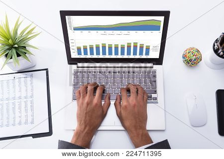High Angle View Of A Businessperson's Hand Analyzing Graph On Laptop At Workplace