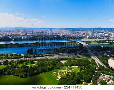 Wien cityscape from above, Austria, Europe, gardens and Danube river