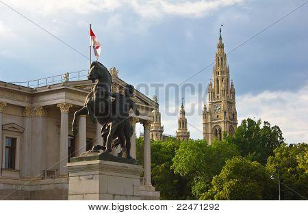Parliament and Rathausplatz Tower