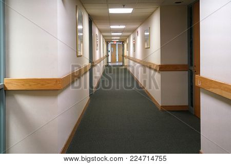 Perspective View Of Hallway Inside Hospital For Design