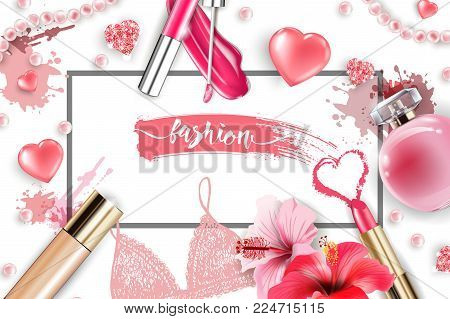 Cosmetics and fashion background with make up artist objects: lip gloss, perfume, pink pearl beads, sparkling hearts. Foundation, pink lipstick. Fashion and Valentines day Concept.