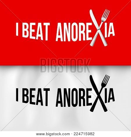 I Beat Anorexia: Ironic Slogan with Fork and Knife on White and Red Tablecloth for Design