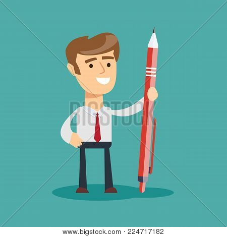 Business man holding a giant pen. Stock flat vector illustration.