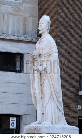 ROME, ITALY - SEPTEMBER 03: Saint Ambrose by Arturo Dazzi, Basilica dei Santi Ambrogio e Carlo al Corso, Rome, Italy on September 03, 2016.