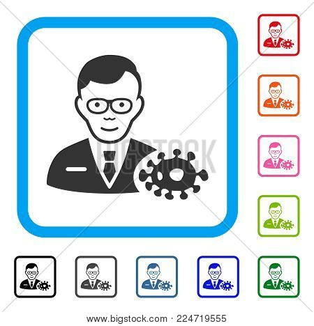 Glad Bacteriologist vector pictogram. Human face has gladness emotions. Black, grey, green, blue, red, pink color versions of bacteriologist symbol in a rounded rectangular frame.