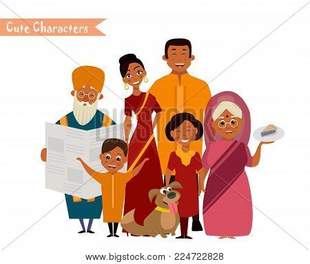 Big happy indian family in national dress isolated vector illustration. Parents, grandparents and children cartoon characters. Family generations standing together, senior couple with grandchildren