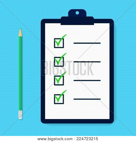 Ckecklist with pencil in carton style. Time managment. Flat syllabus. Clipboard with checkboxes. Checkmarks. Template for design. Vector illustartion isolated on background.
