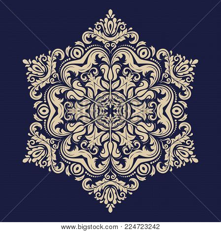 Oriental golden pattern with arabesques and floral elements. Traditional classic ornament. Vintage pattern with arabesques