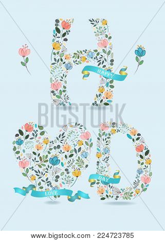 Happy Love Day. Floral big heart and letters - H and D. Blue satin ribbons with golden back and white texts. Graceful watercolor flowers and plants. Blue background. Illustration