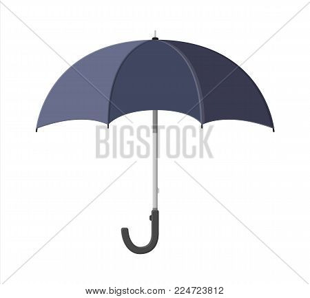 Classic opened black umbrella. Personal accessory. Protection from rain. Umbrella isolated on white background. Vector illustration in flat style