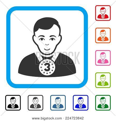 Positive 3rd Prizer Sportsman vector pictograph. Human face has cheerful sentiment. Black, gray, green, blue, red, pink color additional versions of 3rd prizer sportsman symbol in a rounded rectangle.