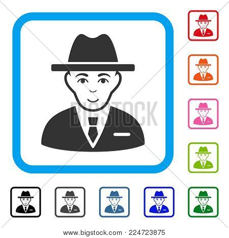 Joyful Agent vector icon. Person face has joy emotions. Black, grey, green, blue, red, pink color versions of agent symbol in a rounded rectangle.