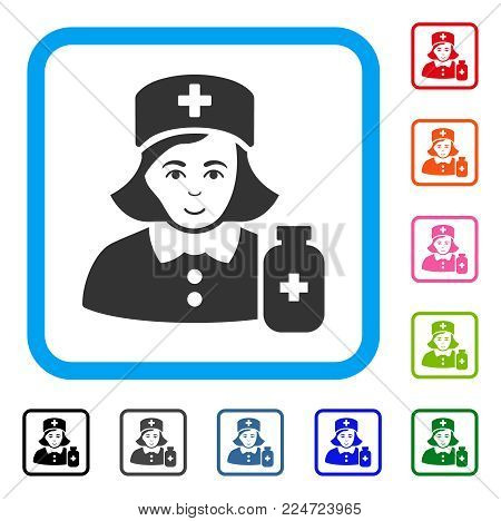 Joyful Apothecary Lady vector pictograph. Person face has gladness emotions. Black, gray, green, blue, red, orange color variants of apothecary lady symbol inside a rounded square.