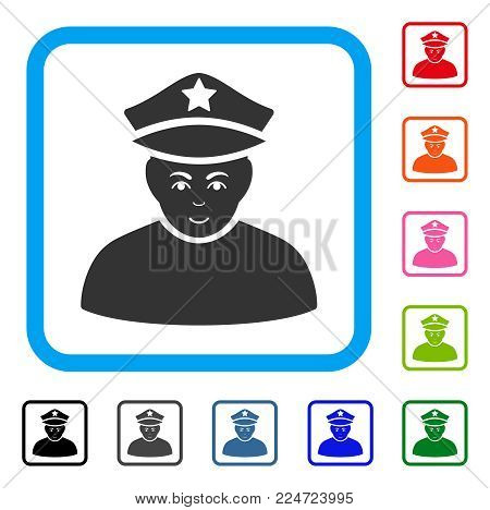 Joyful Army General vector icon. Person face has enjoy sentiment. Black, grey, green, blue, red, orange color versions of army general symbol in a rounded frame.