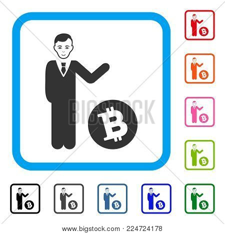 Enjoy Bitcoin Businessman vector pictograph. Human face has glad emotions. Black, grey, green, blue, red, pink color versions of bitcoin businessman symbol in a rounded square.