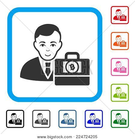 Positive Bitcoin Cash Accounter vector icon. Person face has joy emotions. Black, gray, green, blue, red, pink color variants of bitcoin cash accounter symbol inside a rounded rectangular frame.