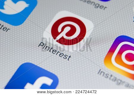 Sankt-Petersburg, Russia, February 1, 2018: Pinterest application icon on Apple iPhone 8 smartphone screen close-up. Pinterest app icon. Pinterest is the  popular Internet social network
