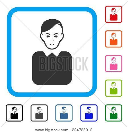 Gladness Bureaucrat vector icon. Person face has enjoy mood. Black, gray, green, blue, red, pink color versions of bureaucrat symbol in a rounded rectangle.