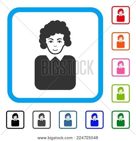 Enjoy Bureaucrat Lady vector pictograph. Person face has cheerful mood. Black, grey, green, blue, red, orange color variants of bureaucrat lady symbol in a rounded square.