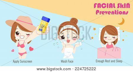 Woman With Facial Skin Prevention On The Blue Background
