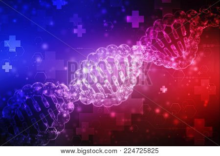Concept of biochemistry with 2d dna molecule isolated in digital background,