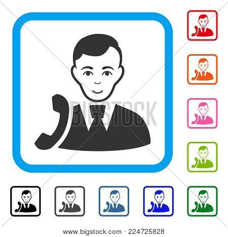 Cheerful Call Manager vector pictogram. Person face has positive emotions. Black, grey, green, blue, red, pink color variants of call manager symbol in a rounded rectangular frame.