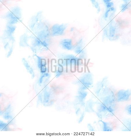 Abstract blue watercolor background. Seamless pattern - spring illustration