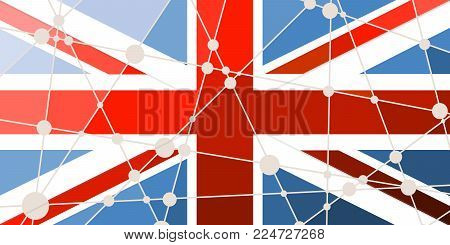 Flag of the Great Britain. Low poly concept triangular style. Molecule and communication background. Connected lines with dots. Gradient painting