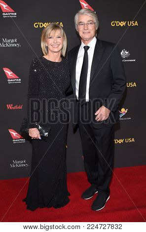 LOS ANGELES - JAN 27:  Olivia Newton John and John Farrar arrives for the G'Day USA Gala 2018 on January 27, 2018 in Los Angeles, CA