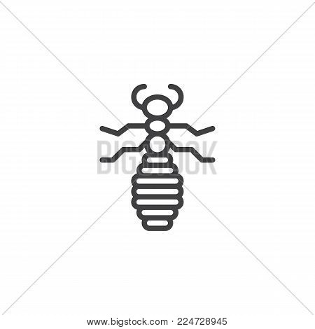 Flea insect line icon, outline vector sign, linear style pictogram isolated on white. Louse Symbol, logo illustration. Editable stroke
